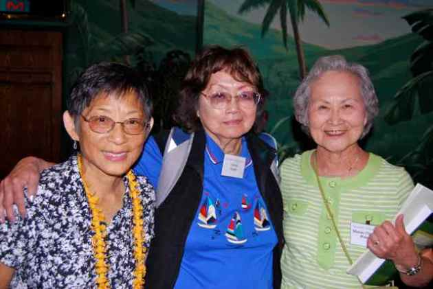 Former Children's Village residents; (from left): Annie (Shiraishi) Sakamoto, Celeste (Loi) Teodo, Matsue Watanabe.