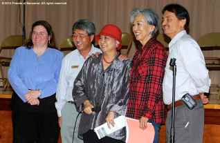 Lillian Kawasaki (holding microphone) is recognized for her years of service to the Friends of Manzanar, joined by (from left): Alisa Lynch, Les Inafuku, Rose Ochi, and Bruce Embrey. ©2012 Friends of Manzanar. All rights reserved.