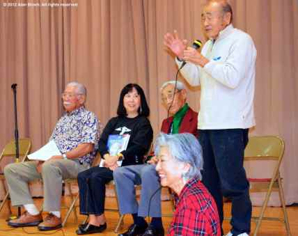 From left, Mas Okui, Joyce Okazaki, Jack Kunitomi, and Charlie Hamasaki share their recollections in a discussion moderated by Rose Ochi (foreground). ©2012 Alan Broch. All rights reserved.