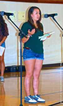 The Cal Poly Pomona and UCSD Nikkei Student Union led off the opening of the program relating a story of one of their relatives who was unjustly incarcerated during World War II. Carly Lindley, the President of the UCSD Nikkei Student Union, is shown here.