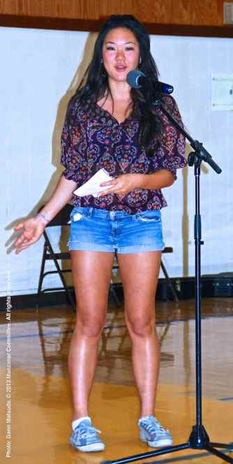 The Cal State Long Beach Nikkei Student Union tells their story about another Japanese American who was unjustly incarcerated during World War II. Megan Ono is shown here.