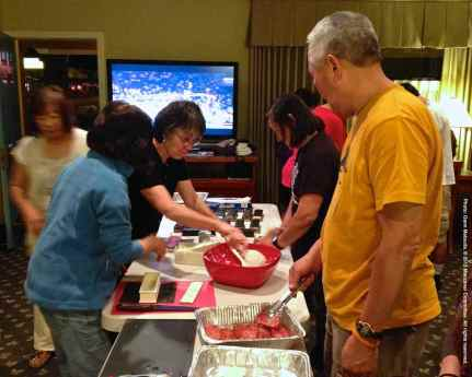 Night before the Pilgrimage: The big tradition...making spam musubi for our potluck lunch at the Pilgrimage!