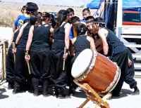 "UCLA Kyodo Taiko starts with a ritualistic chant: ""IKUZO! GANBARUZO! MAKENAIZO!"""