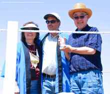 Warren Furutani (right), one of the founders of the modern-day Manzanar Pilgrimage in 1969, was honored by the Manzanar Committee, which presented him with the 2013 Sue Kunitomi Embrey Award.. He is shown here with Manzanar Committee Co-Chairs Kerry Cababa (left) and Bruce Embrey (center).