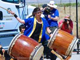"Sydney Shiroyama of UCLA Kyodo Taiko performs their signature song, ""Encore."""