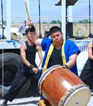 "Trent Oshiro of UCLA Kyodo Taiko performs their signature song, ""Encore."""
