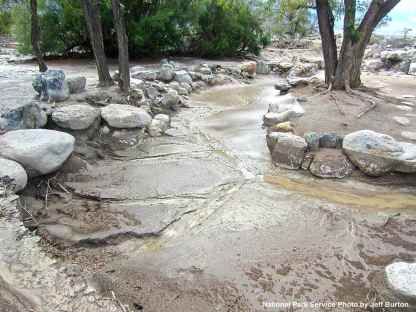 Extensive damage at Merritt Park: erosion and collapsed rocks
