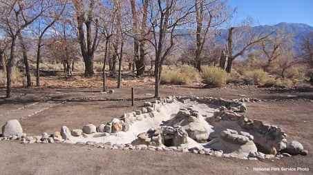 Excavated/rehabilitated Arai Fish Pond at Block 33, Manzanar National Historic Site.