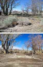Arai Fish Pond at Block 33, Manzanar National Historic Site, before and after excavation and restoration.