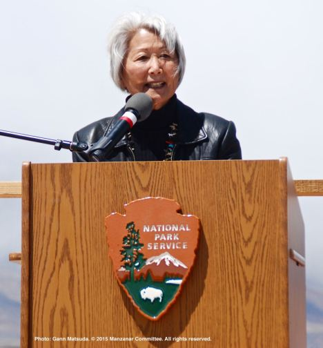 Former Poston incarceree Hatsuko Mary Higuchi told her family's story during the 46th Annual Manzanar Pilgrimage.