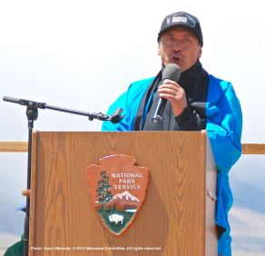 Manzanar Committee Co-Chair, Bruce Embrey, shown here delivering his closing remarks during the 46th Annual Manzanar Pilgrimage.