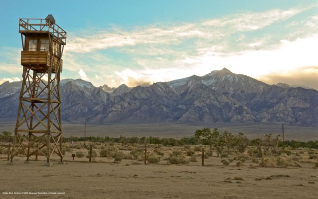Replica of a World War II watchtower at Manzanar National Historic Site, looking west towards the Eastern Sierras. The tallest peak visible from Manzanar is Mt. Williamson (shown here).
