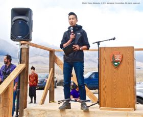 Kizuna Executive Director Craig Ishii served as emcee during the 46th Annual Manzanar Pilgrimage.