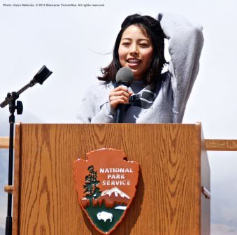 UCSD Nikkei Student Union member Julia Teranishi spoke at the 46th Annual Manzanar Pilgrimage, offering a perspective from the younger generation.