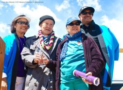 2015 Sue Kunitomi Embrey Legacy Award recipient Rev. Paul Nakamura (second from left), shown here with his wife, Kikuno (second from right). Kerry Cababa (left) and Bruce Embrey (right) of the Manzanar Committee are also shown here.