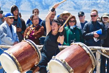 "UCLA Kyodo Taiko performing their signature song, ""Encore,"" during the 46th Annual Manzanar Pilgrimage."