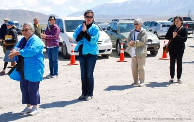 Ondo dancing marks the traditional conclusion of the annual Manzanar Pilgrimage. That's Manzanar Committee member Jenny Chomori (foreground) and long-time Pilgrimage volunteer Tomoko Brooks behind her.