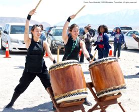 Ondo dancing marks the traditional conclusion of the annual Manzanar Pilgrimage. UCLA Kyodo Taiko accompanied the dancing.