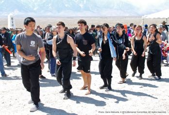 Ondo dancing marks the traditional conclusion of the annual Manzanar Pilgrimage. Members of UCLA Kyodo Taiko are shown here.