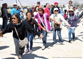 Ondo dancing marks the traditional conclusion of the annual Manzanar Pilgrimage. From left: Kathy Masaoka, Maiya Osumi, Jenni Kuida.