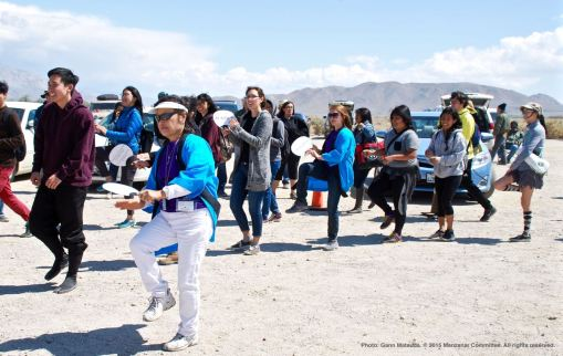 Ondo dancing marks the traditional conclusion of the annual Manzanar Pilgrimage. That's Manzanar Committee Co-Chair Kerry Cababa (foreground).