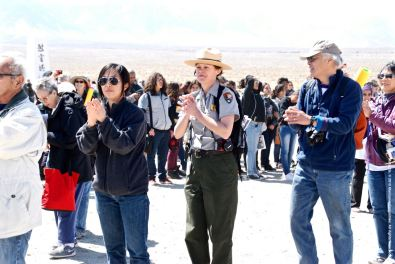 Ondo dancing marks the traditional conclusion of the annual Manzanar Pilgrimage. Manzanar National Historic Site Ranger Kristen Luetkemeier is shown here.