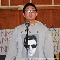 College students organize the Manzanar At Dusk program, which begins with a creative presentation in which portions of actual stories from former incarcerees are portrayed. Shown here is CSULB Nikkei Student Union President Andy Aoyama.
