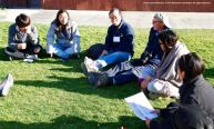 One of the small group discussions during the 2015 Manzanar At Dusk program. Andy Noguchi, Co-President, Florin JACL, is shown here, background center.