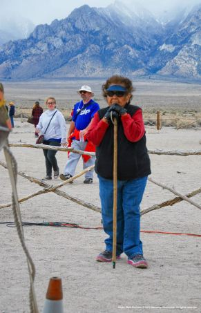 Lone Pine Paiute Shoshone Reservation Tribal Elder Beverly Newell welcomed participants on behalf of the Native peoples who originally lived at Manzanar.