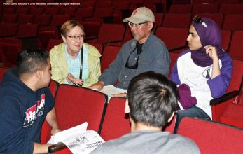 One of the small group discussions during the 2015 Manzanar At Dusk program. Susanne Norton La Faver is shown here, top left. To her left is writer Edward Iwata.