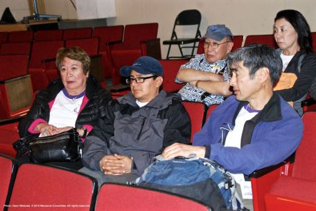 One of the small group discussions during the 2015 Manzanar At Dusk program. Kanji Sahara of the Manzanar Committee is shown here, top left.
