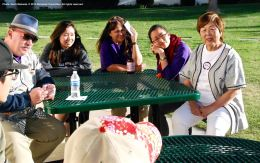 One of the small group discussions during the 2015 Manzanar At Dusk program. Nancy Oda is on the right, and Vicky Perez-Geaga of the Manzanar Committee is second from the right.