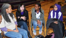 One of the small group discussions during the 2015 Manzanar At Dusk program. That's Manzanar Committee member Wendi Yamashita (second from left).