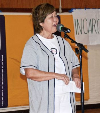 Nancy Oda, shown here during the open mic portion of the 2015 Manzanar At Dusk program.