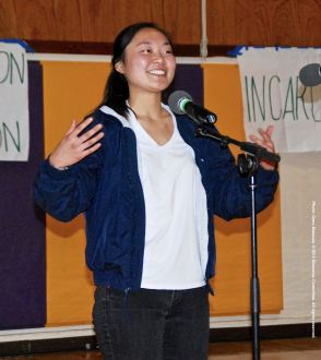 UCSD Nikkei Student Union President Kelsey Nakamura, shown here during the open mic portion of the 2015 Manzanar At Dusk program.