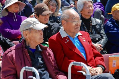 Former Manzanar and Heart Mountain incarceree Jack Kunitomi (left) and former California State Assemblymember Paul Bannai (right).