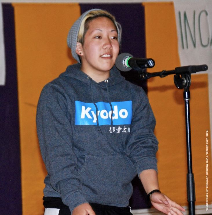 UCLA Kyodo Taiko member Kendall Tani, shown here during the open mic portion of the 2015 Manzanar At Dusk program.