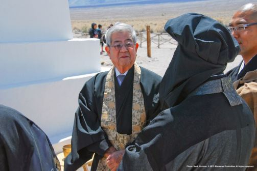 Preparing for the traditional interfaith service at the Manzanar cemetery.