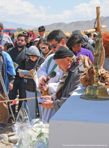 The Christian portion of the traditional interfaith service at the Manzanar cemetery.