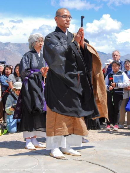 The Buddhist portion of the traditional interfaith service at the Manzanar cemetery.