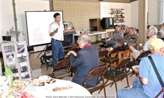 Manzanar Committee Co-Chair Bruce Embrey opens the program on the Manzanar Guayule Rubber Project, August 30, 2015, Gardena, California.