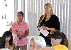 Manzanar National Historic Site Superintendent Bernadette Johnson (left) with Inyo County Clerk-Recorder Kammi Foote at the program on the Manzanar Guayule Rubber Project, August 30, 2015, Gardena, California.