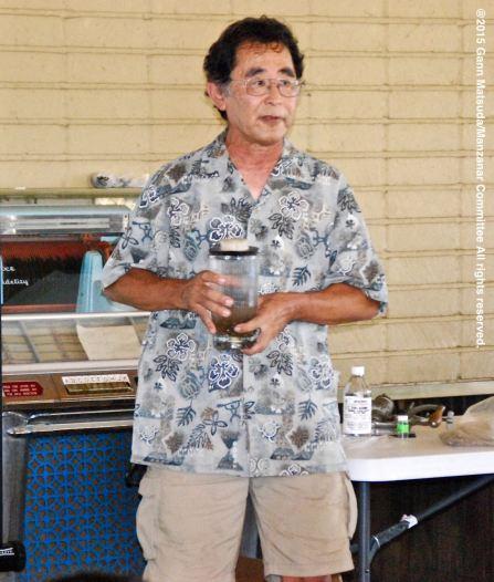 Dr. Glenn H. Kageyama speaking at the program on the Manzanar Guayule Rubber Project, August 30, 2015, Gardena, California.