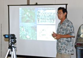 Dr. Glenn H. Kageyama speaking at the program on the Manzanar Guayule Rubber Project, August 30, 2015, Gardena, California.