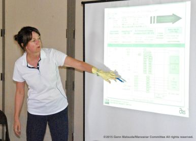 Colleen McMahan, Ph.D., lead research chemist for the Agricultural Research Service Domestic Natural Rubber Project, United States Department of Agriculture speaking at the program on the Manzanar Guayule Rubber Project, August 30, 2015, Gardena, California.