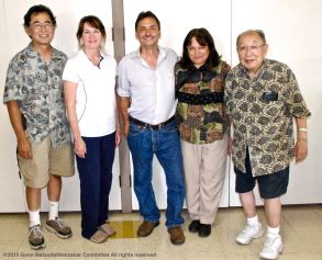 From left: Dr. Glenn H. Kageyama, Colleen McMahan, Ph.D., Manzanar Committee Co-Chair Bruce Embrey, Manzanar Committee members Vicky Perez-Geaga and Kanji Sahara at the program on the Manzanar Guayule Rubber Project, August 30, 2015, Gardena, California.