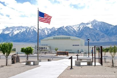 The visitor's center at the Manzanar National Historic Site, looking west. The highest peak in the background is Mt. WIlliamson.