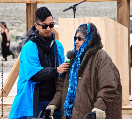 Big Pine Paiute Tribe elder Charlotte Bacoch (right), welcomed everyone to their land at the start of the 47th Annual Manzanar Pilgrimage.