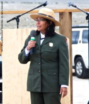 Manzanar National Historic Site Superintendent Bernadette Johnson, shown here addressing the crowd during the 47th Annual Manzanar Pilgrimage.