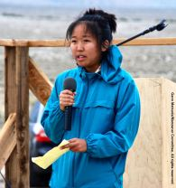 Rena Ogino, President, UCSD Nikkei Student Union, shown here addressing the crowd during the 47th Annual Manzanar Pilgrimage.